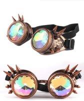 Kaleidoscoop goggles bril koper met spikes - glas diamant kaleidoscope space caleidoscoop optisch magisch toverkijker holografisch - festival carnaval steampunk Burning Man