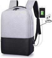 Rugzak - Inclusief USB Oplaadstation - Geschikt Voor 15 Inch Laptop - Spat Waterdicht - Schooltas - Zwart/Grijs