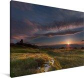 Zonsondergang bij het Nationaal park Dartmoor in Engeland Canvas 30x20 cm - klein - Foto print op Canvas schilderij (Wanddecoratie woonkamer / slaapkamer)
