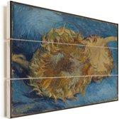 Zonnebloemen - Schilderij van Vincent van Gogh Vurenhout met planken 80x60 cm - Foto print op Hout (Wanddecoratie)