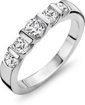 Silventi 943284388-58 Zilveren ring - ronde zirkonia Ø 3 en 4 mm - maat 58 - zilverkleurig