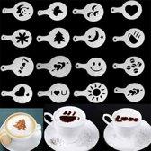 16-Delige Barista Tools - Latte Art Set - Koffie / Cappuccino / Cacao Sjablonen