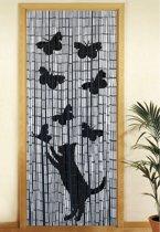Bamboe vliegengordijn Kat en vlinders 90x200cm