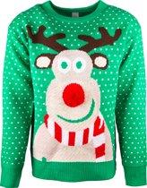 JAP Foute kersttrui - Rudolf met 3D neus voor volwassenen - Dames en heren - L - Groen