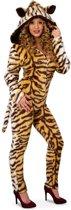 Tijger catsuit pluche met muts voor dame maat 38