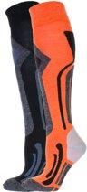 Falcon Blunt B Wintersportsokken - Maat 35-38 - Unisex - oranje/ grijs/ zwart