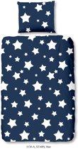 Good Morning 5130-A met sterren - kinderdekbedovertrek - eenpersoons - 140x200/220 cm  - katoen - blauw