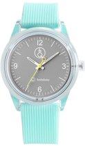 Q&Q Smile Solar 651022 horloge 100 meter 40 mm turquoise/ grijs