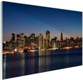 De skyline van San Fransisco bij nacht Glas 120x80 cm - Foto print op Glas (Plexiglas wanddecoratie)