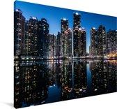 Skyline van Busan in Zuid-Korea Canvas 60x40 cm - Foto print op Canvas schilderij (Wanddecoratie woonkamer / slaapkamer) / Aziatische steden Canvas Schilderijen