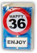 Happy Birthday kaart met button 36 jaar