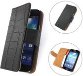 TCC Book Cover Hoesje Alcatel One Touch Idol Wallet Case 6030D Croco Zwart