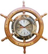 Wandklok partrijspoort stuurwiel thema zon zee strand nautical maritiem