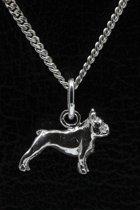 Zilveren Bulldog Franse ketting hanger - klein