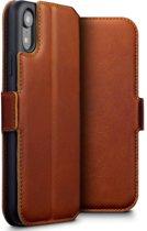 Hoesje voor Apple iPhone XR, echt lederen 3-in-1 bookcase, cognac bruin