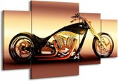 Canvas schilderij Motor   Oranje, Bruin, Geel   160x90cm 4Luik