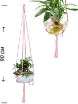 Roze macrame plantenhanger 100% katoen