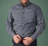 GCM heren overhemd/blouse blauw/grijs - maat XL
