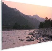 Zonsondergang bij de rivier in het Nationaal park Chitwan in Nepal Plexiglas 60x40 cm - Foto print op Glas (Plexiglas wanddecoratie)