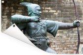 Standbeeld van Robin Hood in Nottingham Tuinposter 60x40 cm - klein - Tuindoek / Buitencanvas / Schilderijen voor buiten (tuin decoratie)