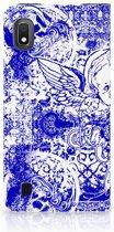 Mobiel BookCase Samsung Galaxy A10 Angel Skull Blue