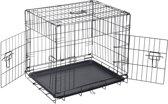 REKE Hondenbench Sterk 2 deurs - 76x53x57 cm - Zwart