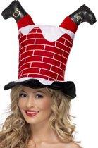 Kerstman vast in schoorsteen hoed | Kerstmuts