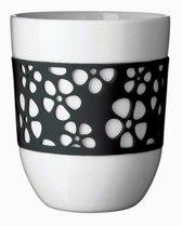 Q-Do Beker Porselein - Dubbelwandig - Siliconen - Bloemmotief - Zwart - Set van 2 stuks