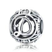 Zilveren alfabet bedel letter D met zirkonia steentjes