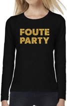 Foute Party goud glitter tekst t-shirt long sleeve zwart voor dames- zwart shirt met lange mouwen voor dames 2XL