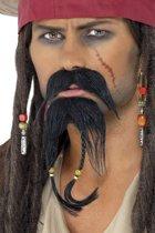 Piraten baardje en snor met kraaltjes / Jack Sparrow set - zelfklevend