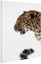 Sneeuwluipaard foto Canvas 60x80 cm - Foto print op Canvas schilderij (Wanddecoratie)