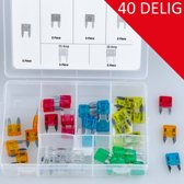 Steekzekeringen mini set 40 delig in box div soorten AMP zekeringen steek zekering
