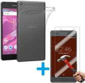 Sony Xperia XZ en XZs Ultra Dunne TPU silicone case hoesje Met Tempered glass Screen Protector Set