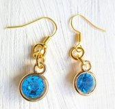 2 Love it  Bling B G - Oorbellen - Hangers - Blauw - Goudkleurig