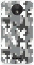 Motorola Moto C Hoesje Pixel Camouflage Grey