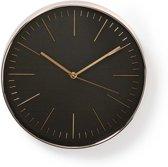 Ronde wandklok | Diameter 30 cm | Zwart & roze-goud
