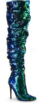COURTLY-3011 - (EU 37 = US 7) - 5 Ruched Sequined Thigh High Boot, 1/3 Side Zip
