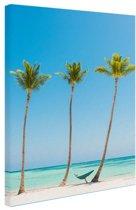 Caribisch strand 3 palmbomen Canvas 20x30 cm - klein - Foto print op Canvas schilderij (Wanddecoratie woonkamer / slaapkamer)