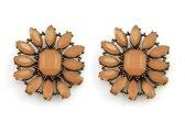 Oorknoppen Bloem - 3x2.5cm - Bruin - Dielay