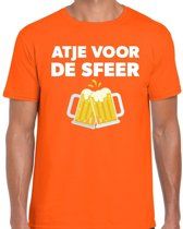 Atje voor de sfeer feest t-shirt oranje voor heren - kroeg / feestje shirt L