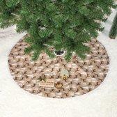 Kerstboom rok - Kerstboom kleed - Ø 80 cm - Bruin - Kleed voor onder de kerstboom - Tegen afvallende naalden - Diameter 80 cm - Kerst print