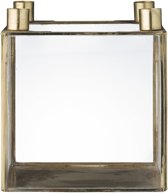 Bloomingville - Cube - Kandelaar Glas - Goud finish