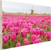 Roze tulpen en windmolen Hout 120x80 cm - Foto print op Hout (Wanddecoratie)