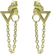 Karma oorbel Chain Open Triangle Silver Goldplated-M1831