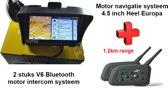 Motor navigatie systeem + Helm bluetooth intercom systeem voor 2 personen
