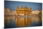 Weerspiegeling van de Gouden Tempel Aluminium 120x80 cm - Foto print op Aluminium (metaal wanddecoratie)
