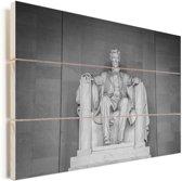 Prachtige afbeelding van het Lincoln Memorial Vurenhout met planken 60x40 cm - Foto print op Hout (Wanddecoratie)