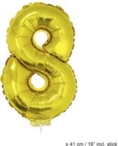 Helium Ballon Nummer 8 - Goud - 41 Cm