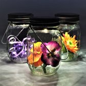 Gadgy® – Solar Jar set 3st. – Set van 3 glazen potten met solar Led verlichting - LED Buitenlamp op zonne energie met dag/nacht sensor – ook USB oplaadbaar! – Tafellamp - transparant - 7x13 cm.
